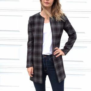 Cynthia Rowley | Long Line Open Blazer Plaid Black